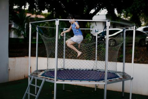 Jumping on trampoline for Good health
