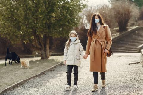 Children following safety measures when Outdoors during covid-19