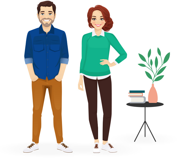 An Animated Man & woman standing