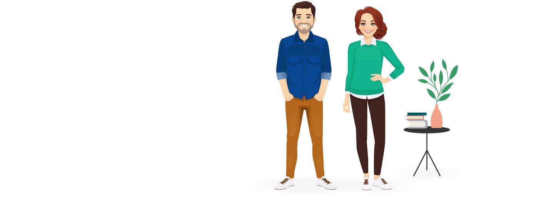 Animated boy and girl standing
