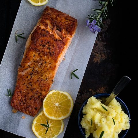 Grilled Salmon with Mashed Potato | Nish Kitchen